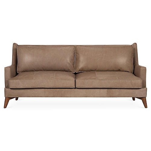 "Beverlywood 83"" Sofa, Pewter Leather"