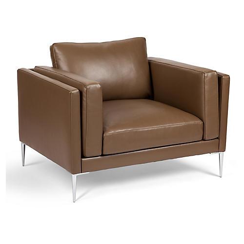 Arlo Club Chair, Dark Khaki Leather