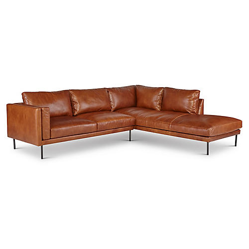 Aiden Sectional, Brown Leather