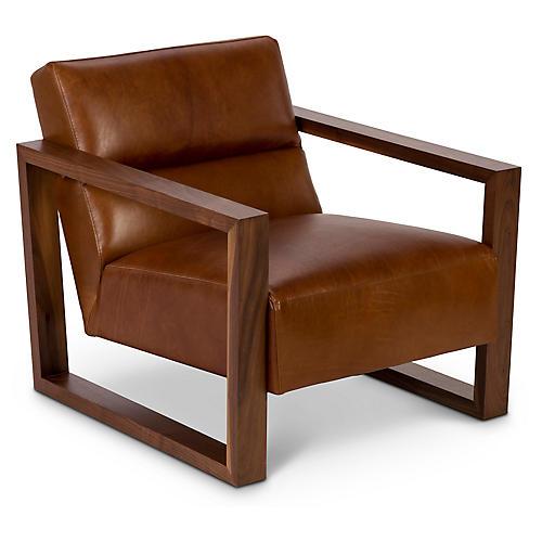 Bond Club Chair, Brown Leather