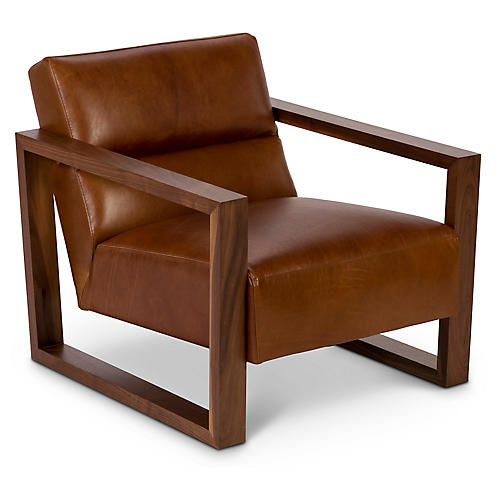 Bond Club Chair, Brown Leather