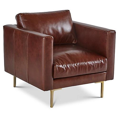 Cheviot Club Chair, Brown Leather