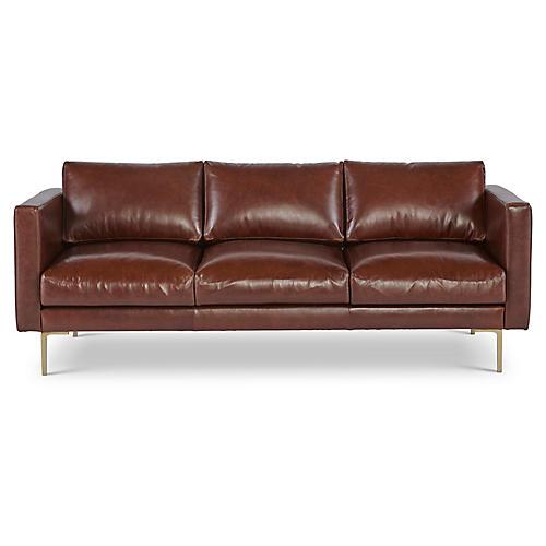 "Cheviot 82"" Sofa, Brown Leather"