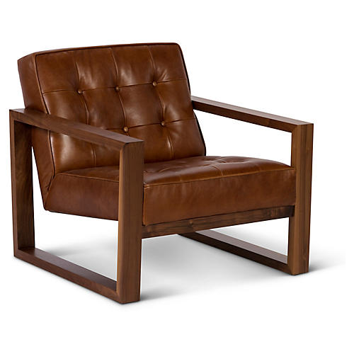 Harrison Club Chair, Brown Leather
