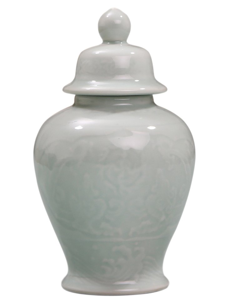 "9"" Porcelain Temple Jar, Green"