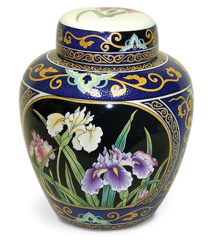 "6"" Iris Garden Porcelain Ginger Jar"
