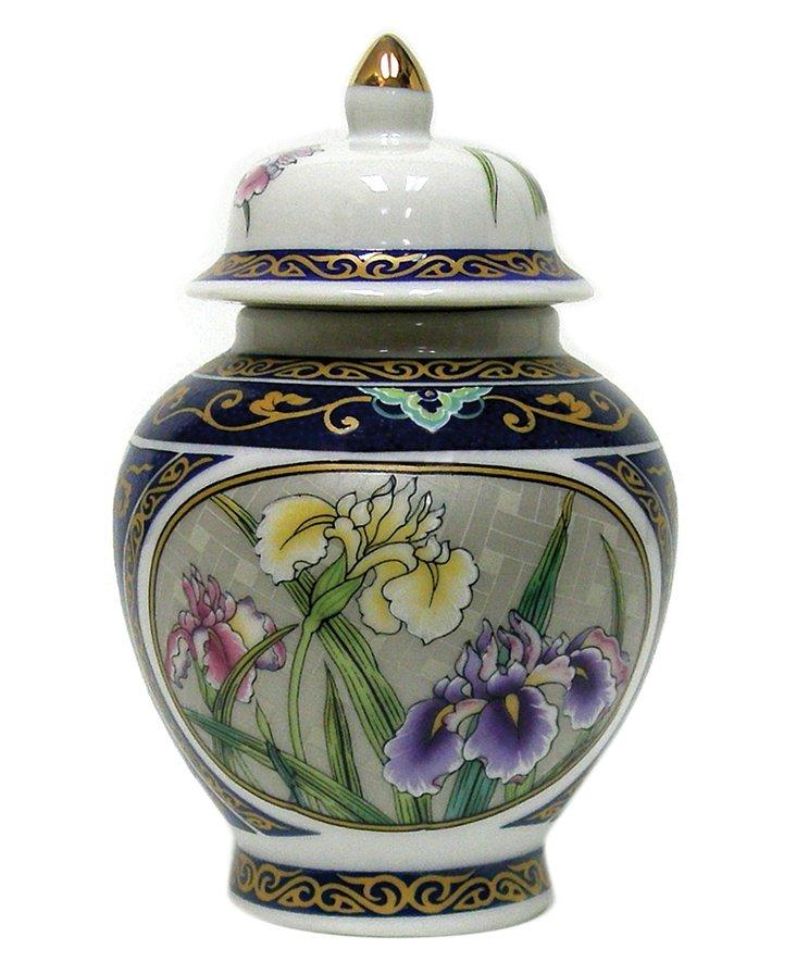 "5"" Iris Garden Porcelain Temple Jar"