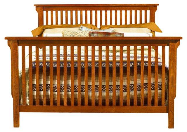 Oak Ainsley Sleigh Bed, Queen