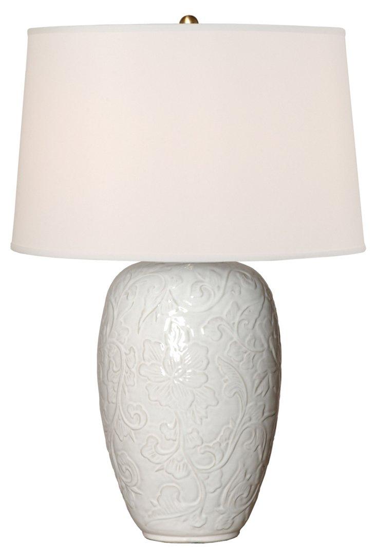 Botanical Relief Vase Table Lamp, White