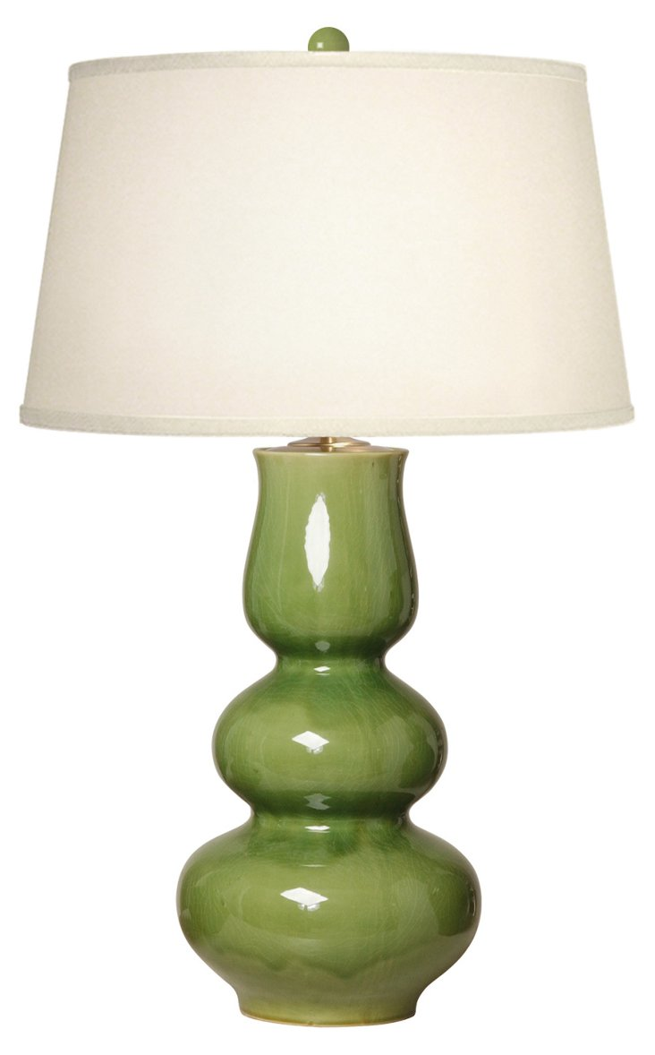 Triple Chalice Gourd Table Lamp, Olive