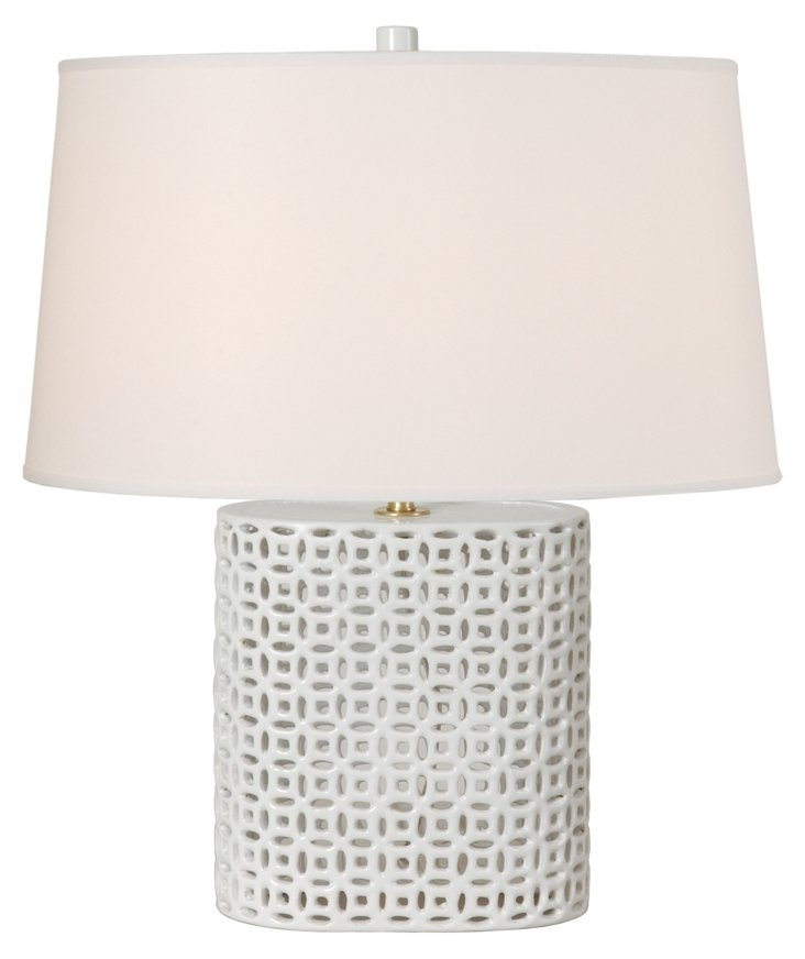 Wide Fortune Vase Table Lamp, White