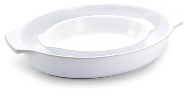 S/2 Assorted Oval Gratins, White