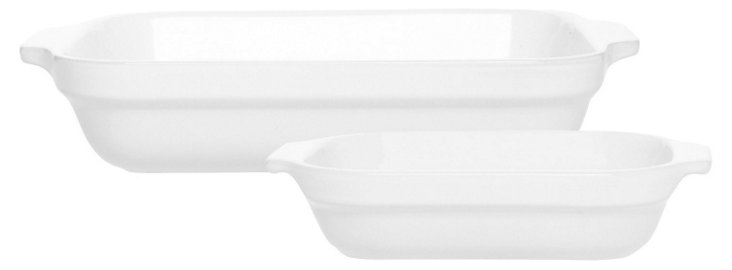S/2 Assorted Lasagna Dishes, Blanc