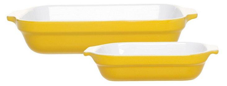 S/2 Lasagna Bakers, Yellow