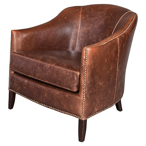 Madison Leather Club Chair, Saddle