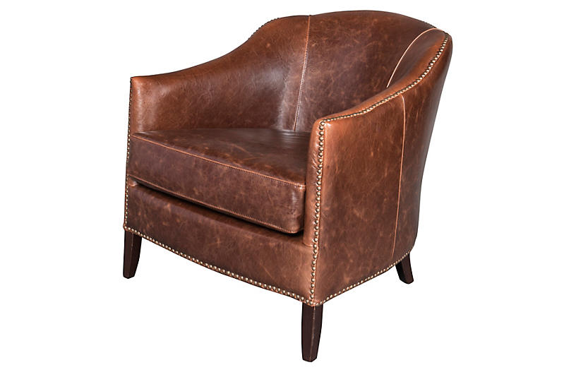 Madison Leather Club Chair - Saddle