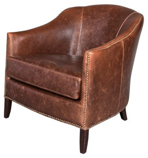 madison leather club chair, saddle - accent chairs - living room
