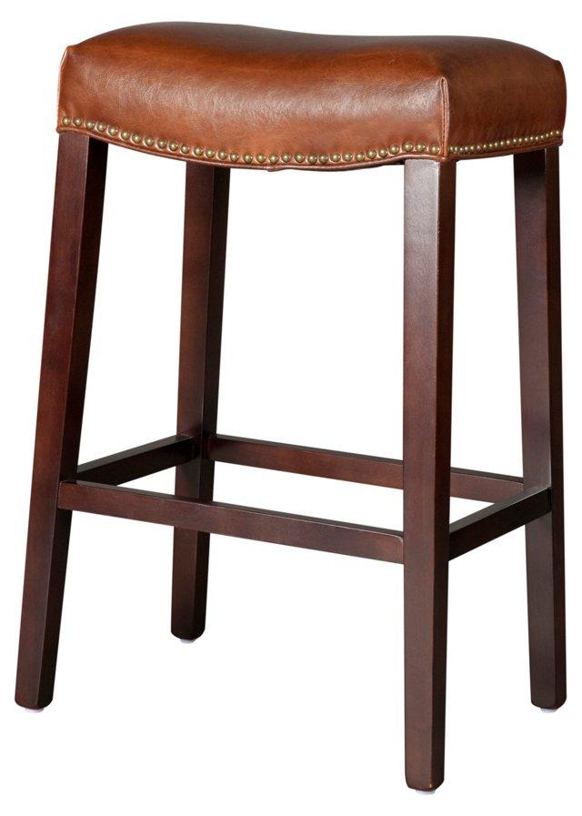 Saddle Leather Stool, Light Brown