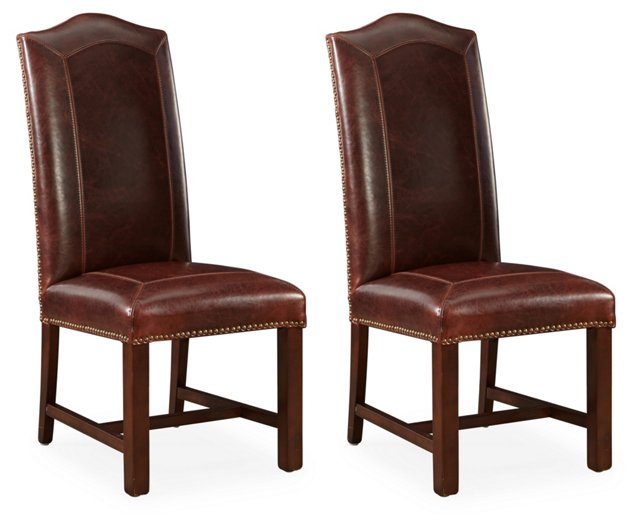 Brown Dana Leather Side Chairs, Pair