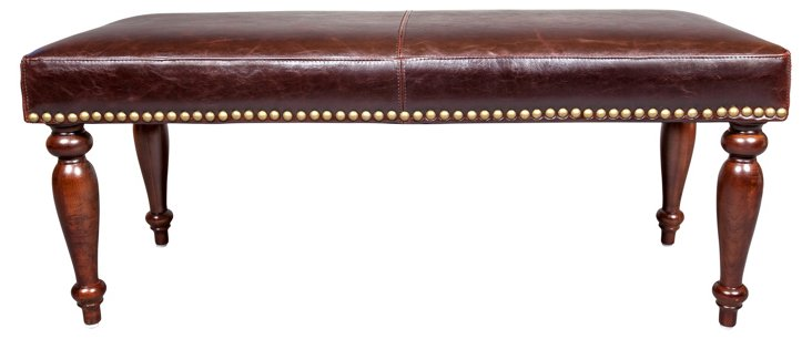 """Dana 48"""" Leather Bench, Brown"""