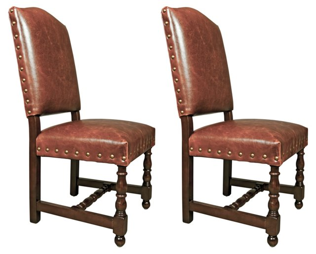 Santa Fe Leather Side Chairs, Pair