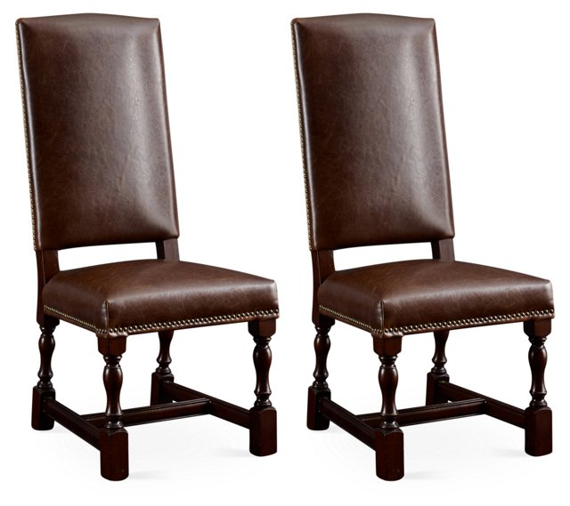 Monterey Leather Side Chairs, Pair