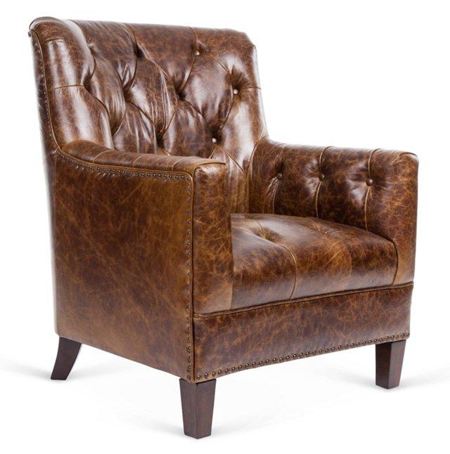 Hamilton Leather Club Chair, Brown