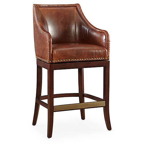Manchester Leather Swivel Stool, Saddle