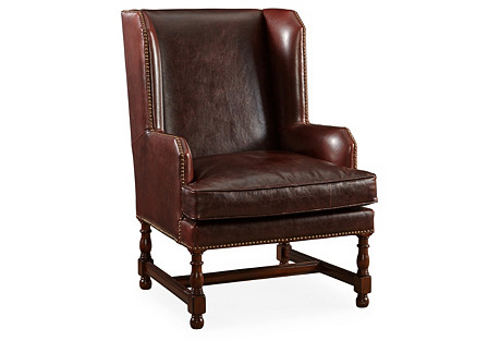 Churchill Wingback Chair, Brown Leather