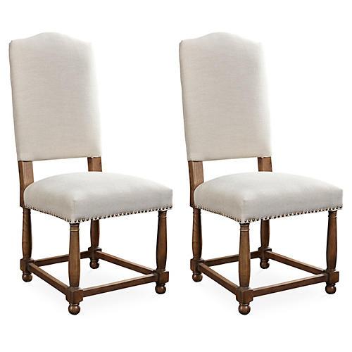Herringbone Nantucket Side Chairs, Pair