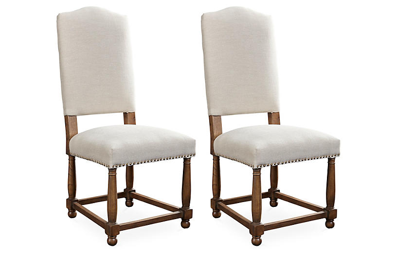 S/2 Nantucket Side Chairs, Oatmeal