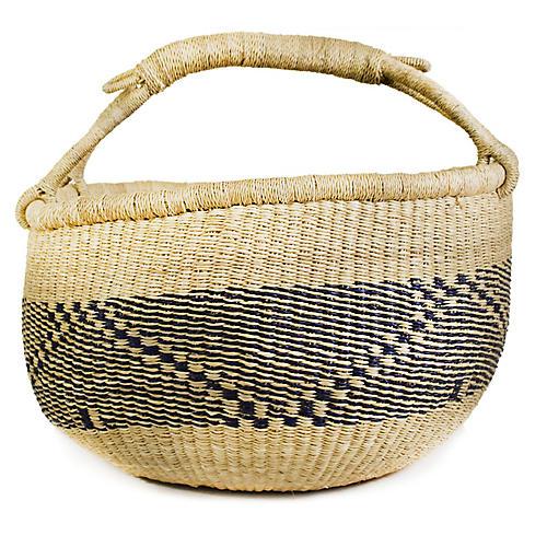 "16"" Bolga Basket, Beige/Navy"