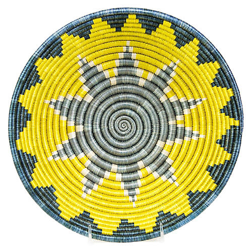 "12"" Hope Sunburst Basket, Yellow/Blue"