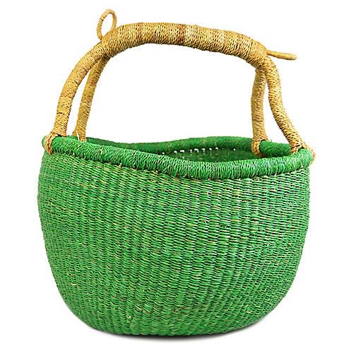 "10"" Bolga Basket, Jade/Natural"