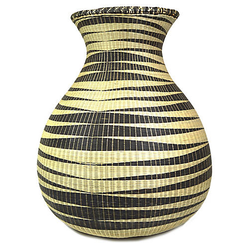 "21"" Huye Floor Basket, Black/Natural"