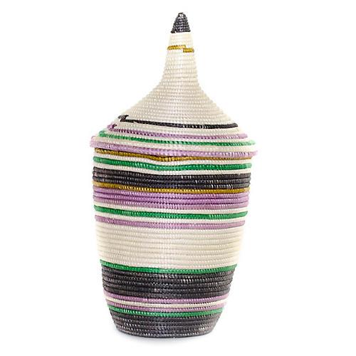 "11"" Striped Cathedral Basket, Dijon/Multi"