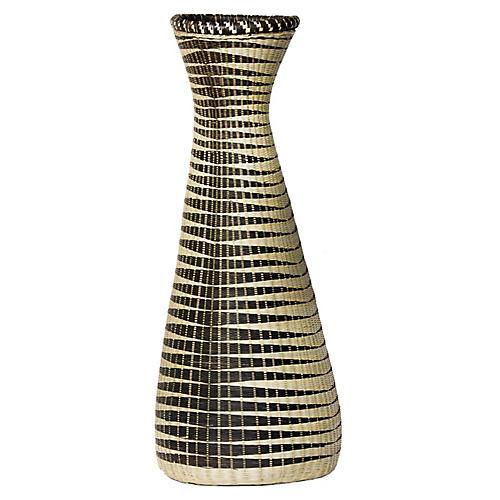 """16"""" Huye Floor Vase, Black/Natural"""