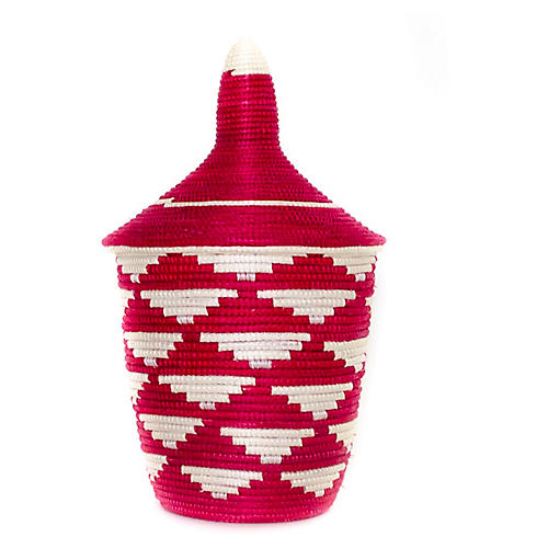"11"" Cathedral Tall Basket, Fire Red/White"