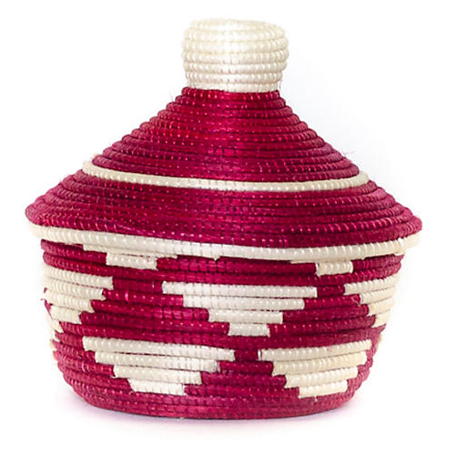 """5"""" Cathedral Basket, Fire Red/White"""