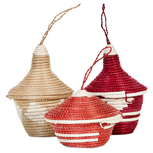 Asst. of 3 Basket Ornaments, Earth Red/Taupe