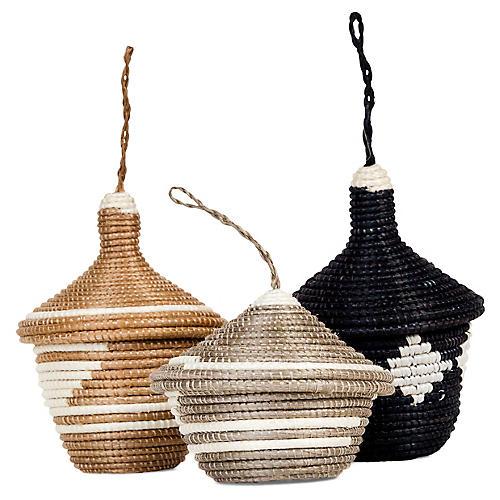 Asst. of 3 Basket Ornaments, Brown Sugar/Multi