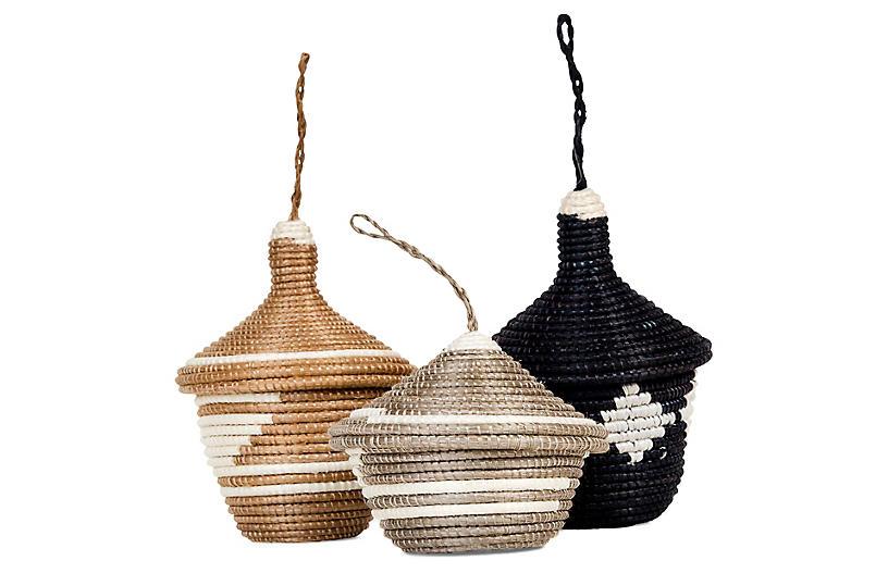 Asst. of 3 Basket Ornaments - Brown Sugar - All Across Africa