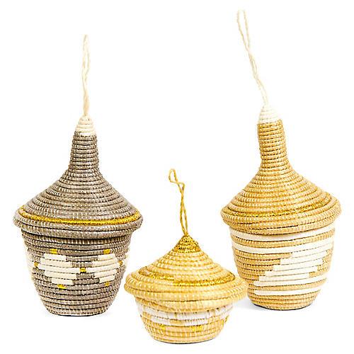Asst. of 3 Basket Ornaments, Metallic Gold/Gray