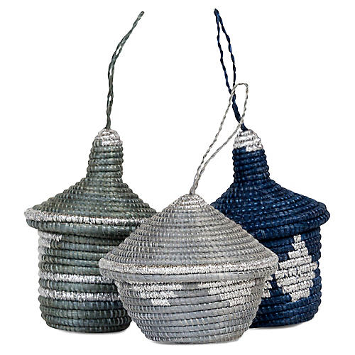 Asst. of 3 Basket Ornaments, Metallic Silver/Blue