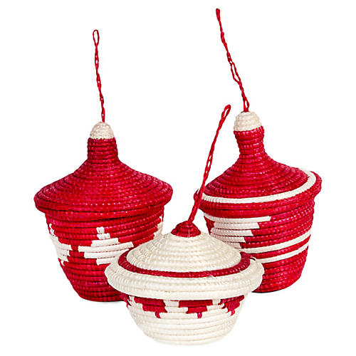 Asst. of 3 Basket Ornaments, Red/White