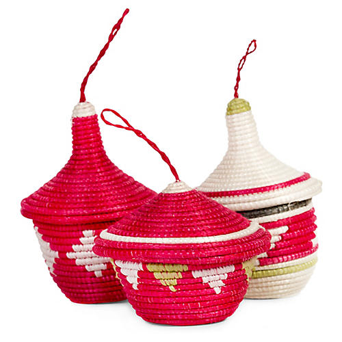 Asst. of 3 Basket Ornaments, Hibiscus/Green