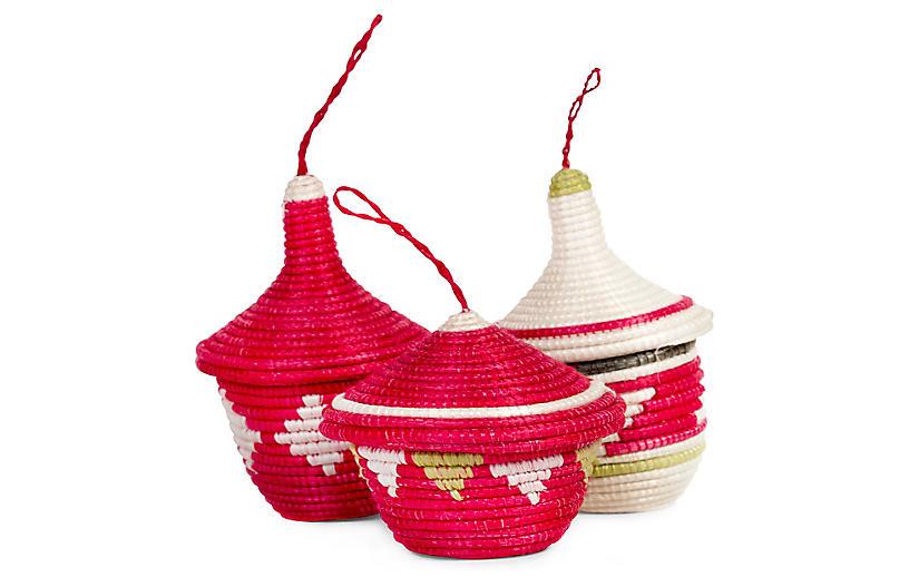 Asst. of 3 Basket Ornaments - Hibiscus/Green - All Across Africa