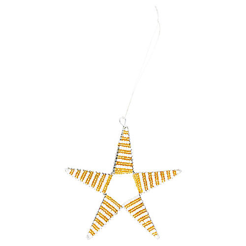 Beaded Star Ornament, Gold/White