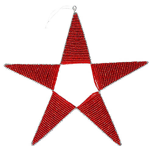Beaded Star Large Ornament, Red