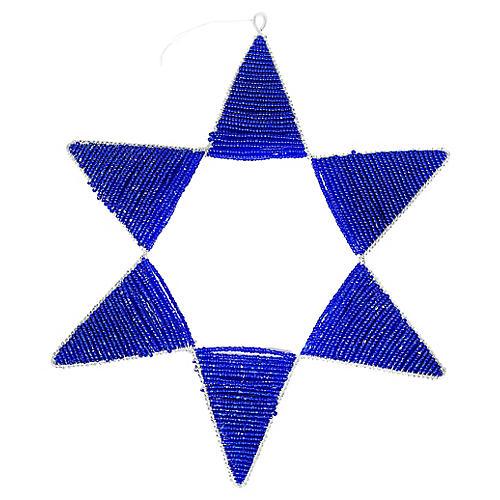 Beaded Star Large Ornament, Blue